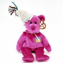 2002 Ty Birthday Beanie Baby January the Pink Teddy Bear Beanbag Plush Toy