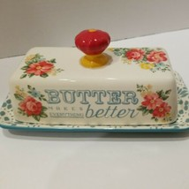 The Pioneer Woman Butter Dish Vintage Floral Stoneware Teal, Red, Ivory ... - $10.84