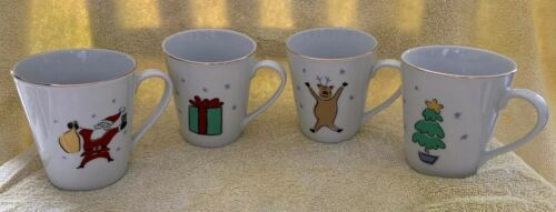 Primary image for Merry Brite Merry Christmas 4 Cups Mugs Tree Santa Reindeer Present