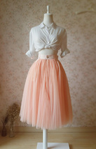 Blush Peach Bachelorette Long Tutu Tulle Skirt Pockets A Line Party Tulle Skirt