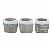 """Melrose Set of 3 Geometric Patterned Gray and White Round Pots 4.75"""" - $21.77"""