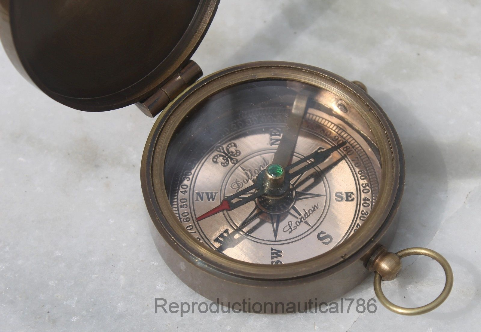 Maritime Dollond London Compass Brass Antique w Leather Case Item For Gifted