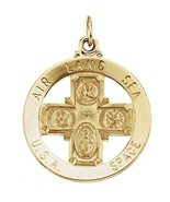 14K Solid Yellow Gold Saint Christopher 25mm Round Four-Way Cross Medal - $519.99