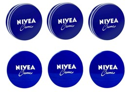 6 Can of 60 mL/ 2 oz NIVEA CREAM Skin Hand CREME moisturizer Metal Tin T... - $13.60