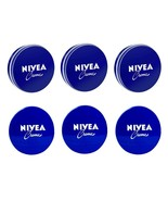 6 Can 60 mL/ 2 oz NIVEA CREAM Skin Hand CREME moisturizer Metal Tin Tota... - $13.60