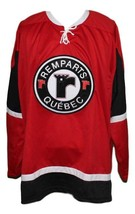 Custom Name # Quebec Remparts Retro Hockey Jersey New Sewn Red Any Size image 3