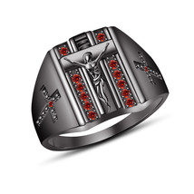 """Round Cut Red Garnet Men's New Party Wearing """"CROSS"""" Ring In 925 Silver Black GP - $124.59"""
