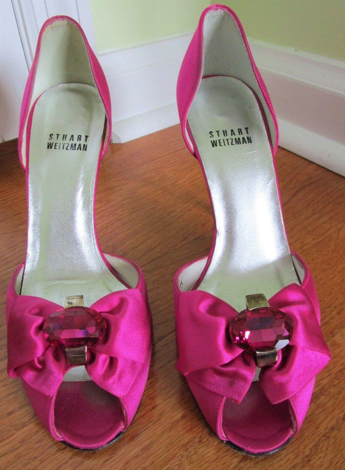 b7a0c81418917e Stuart Weitzman Satin Peep Toe Heels W  Bows and 50 similar items. 57