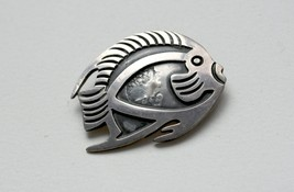 Vintage Mexican  Sterling silver Fish Brooch Pin Hallmarked - $50.00