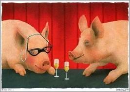 "Will Bullas ""the House Swine"" Pigs drinking wine Pigs drinking house win... - $64.35"