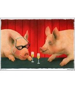 "Will Bullas ""the House Swine"" Pigs drinking wine Pigs drinking house win... - $64.35"