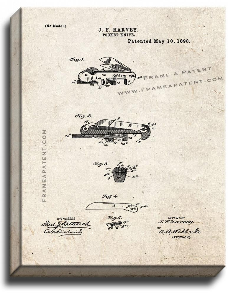 Primary image for Pocket Knife Patent Print Old Look on Canvas