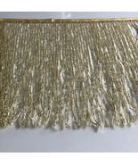 "By Yard-12"" Glass GOLD BUGLE Seed Beaded Fringe Lamp Costume Trim  - $29.99"