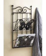 BUTTERFLY MAGAZINE WALL RACK Brown 2 Tier Basket Book Catalog Metal Holder - $32.95