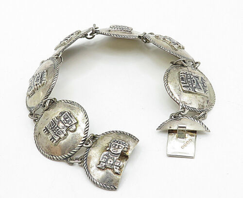 SOUTHWESTERN 925 Silver - Vintage Traditional Pattern Chain Bracelet - B4697