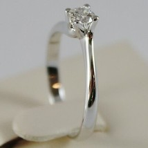18K WHITE GOLD SOLITAIRE WEDDING BAND TWISTED RING DIAMOND 0.26 MADE IN ITALY image 2
