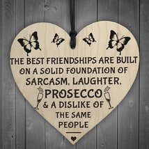 Best Friendships Foundation Is Prosecco Wooden Hanging Heart Sign Novelt... - $11.66