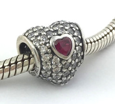 Authentic Pandora In My Heart Red & Clear Bead Charm 791168SRU New - $57.94