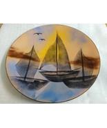 Vintage three ship/scenic unsigned enamal plate - $23.03
