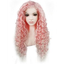 Ebingoo Pink Lace Front Wig with White Tips for Women Long Kinky Curly S... - $43.75