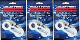 3~ FC2 Valley Forge Set/2 White Nylon Flag Snap Clips Prevents Clanging ... - $11.47