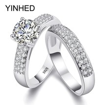 YINHED 2017 Wedding Band Rings Set Solid 925 Sterling Silver 1.5 Carat S... - $19.52