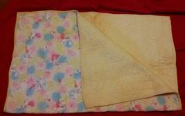 """Vtg Rabbit Bird Quilt Baby Blanket 40"""" x 30"""" Cotton Yellow Pink Blue *St... - $19.79"""
