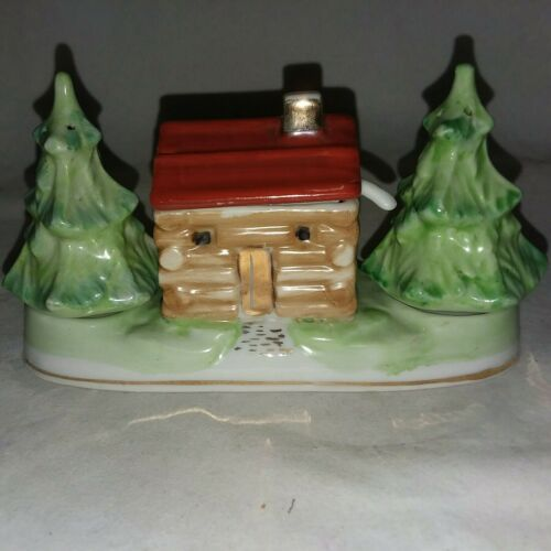 Primary image for Japan Condiment Set Cabin Christmas Trees Salt and Pepper Shakers 1950s Vintage
