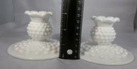 "Fenton Milk Glass Set B Candle Holders - White Hobnail 3"" Tall 4.5"" Base... - $7.92"