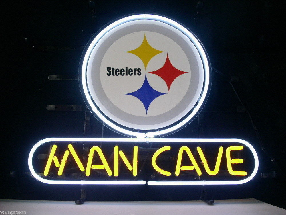 """New Pittsburgh Steelers Man Cave NFL Football Budweiser Neon Sign 17""""x14"""""""