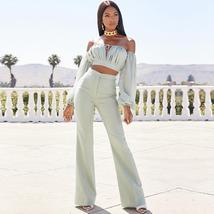 Women's Celebrity Brand Designer Long Sleeve Strapless 2 Two Piece Set image 2