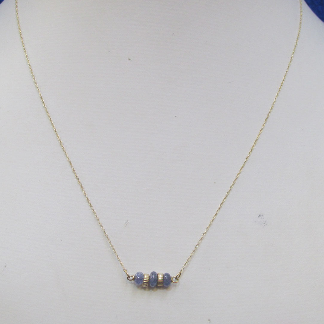 Sodalite Stone Necklace Purple Polished w/ RGE 14K Gold Chain Delicate 16""