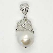 Silver Pendant 925 with Pearl White Fw Handmade Pendant Single image 2