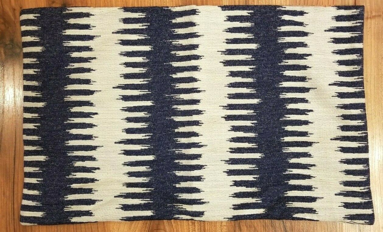 Primary image for WILLIAMS SONOMA Pillow Cover Lumbar BLUE CHEVRON IKAT JACQUARD 14x22 NWOT  #10