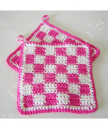 Hot Pink White Checked Crochet Pot Holders Kitchen Hot Pads Classic Styl... - $16.99