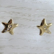 18K YELLOW GOLD EARRINGS MINI STARS STAR, ZIRCONIA FOR KIDS CHILD, MADE IN ITALY image 1