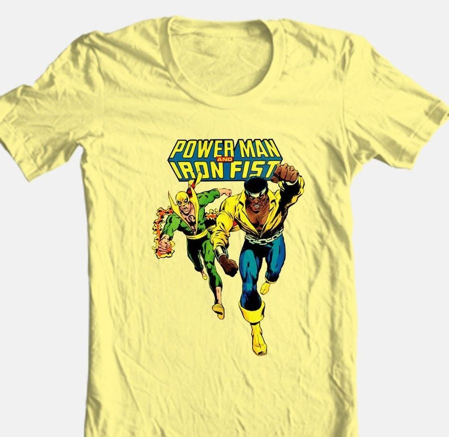 Man iron fist retro comics tshirt superhero luke cage vintage yellow for sale online graphic tee