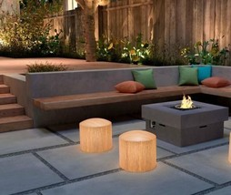 NEW OUTDOOR PATIO OR IN BAMBOO STYLE GLOWING ILLUMINATED STOOL CHAIR FLO... - £285.10 GBP