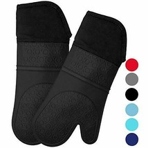 HOMWE Extra Long Professional Silicone Oven Mitt, Mitts 14.7 inch, Black - $21.80