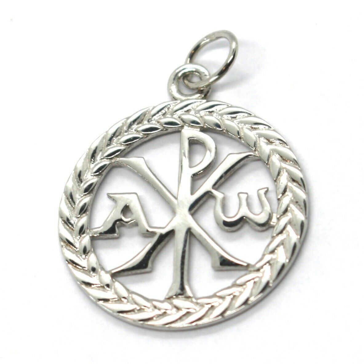SOLID 18K WHITE GOLD MONOGRAM OF CHRIST PENDANT, PEACE, MEDAL, 0.8 INCHES