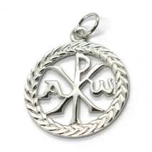 SOLID 18K WHITE GOLD MONOGRAM OF CHRIST PENDANT, PEACE, MEDAL, 0.8 INCHES image 1