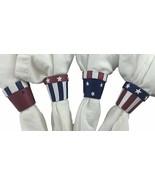Napkin Ring Set (24) Patriotic Stars & Stripes Hand Painted Ceramic - $24.70