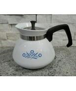Vintage MCM Corning Ware Cornflower Blue & White 6 cup Coffee & Teapot w... - $28.05