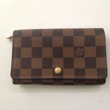 Louis Vuitton, Damier Ebene Tresor Bi-Fold Zip Wallet 5.5in x 4in (CA0052) - $237.45