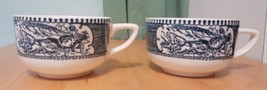 Lot 2 Royal China Currier & Ives Blue White Tea Coffee Cups Lady Carriage - $12.17