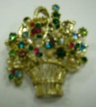 Basket of flowers brooch has rhinestones - $12.86