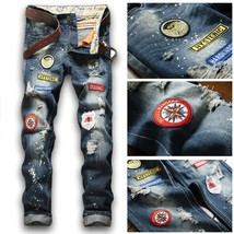 Men's Distinctive Badge Patch Hole Denim Jeans  - $41.82
