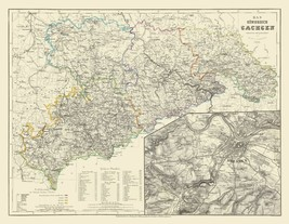 Saxony Region with Dresden Germany - Radefeld 1860 - 23 x 29 - $36.58+