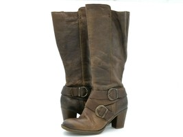 Born Womens 8 M Brown Leather Side Zipper Straps Buckle Biker Riding Boots - $44.99