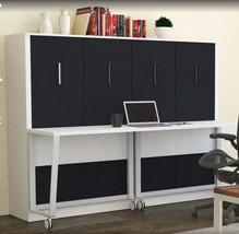 Alexa Full Wall Bed with Desk | White & Matte Black - £1,937.08 GBP